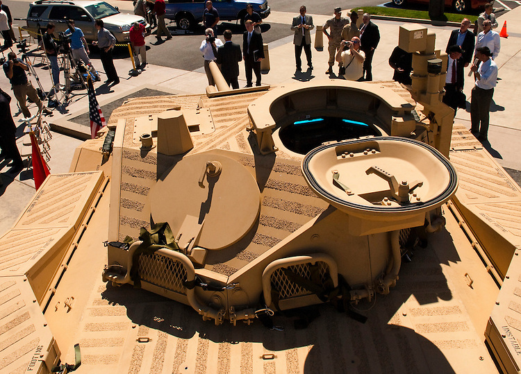"WASHINGTON, DC - May 4: A view from the top of the U.S. Marines' newest Expeditionary Fighting Vehicle (EFV) prototype as it sits in front of the National Museum of the Marine Corps in Triangle. Va., after its unveiling ceremony. The armored amphibious vehicle is designed carry 17 combatants, plus a three person crew, from Navy ship ""beyond the horizon"" to objectives inland. The ceremony was held at the(Photo by Scott J. Ferrell/Congressional Quarterly)"