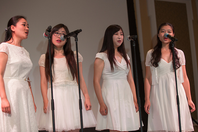 Members of the Chinese Learners Association sing during the International Women's Day Festival on March 13, 2016. Photo by Emily Matthews