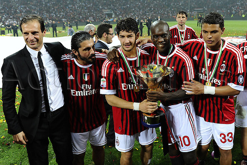 14 05 2011 Milan, Italy.  Series A Milan Cagliari  Photo Massimiliano Allegri Gennaro Gattuso Alexandre Pato Clarence Seedorf Thiago Silva with the trophy  . AC Milan drew 0-0 with Cagliari but won the Serie A tile for the 18th time.