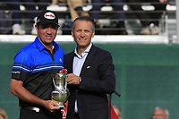Scott Hend (AUS), pictured with Omega CEO Raynald Aeschlimann, finishes in 2nd place after a 3 hole playoff at the  end of Sunday's Final Round of the 2017 Omega European Masters held at Golf Club Crans-Sur-Sierre, Crans Montana, Switzerland. 10th September 2017.<br /> Picture: Eoin Clarke | Golffile<br /> <br /> <br /> All photos usage must carry mandatory copyright credit (&copy; Golffile | Eoin Clarke)