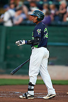 Vermont Lake Monsters shortstop Richie Martin (12) at bat during a game against the Hudson Valley Renegades on September 3, 2015 at Centennial Field in Burlington, Vermont.  Vermont defeated Hudson Valley 4-1.  (Mike Janes/Four Seam Images)