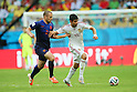 (L to R) <br /> Ron Vlaar (NED), <br /> Diego da Silva Costa (ESP), <br /> JUNE 13, 2014 - Football /Soccer : <br /> 2014 FIFA World Cup Brazil <br /> Group Match -Group B- <br /> between Spain 1-5 Netherlands <br /> at Arena Fonte Nova, Salvador, Brazil. <br /> (Photo by YUTAKA/AFLO SPORT) [1040]