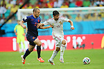 (L to R) <br /> Ron Vlaar (NED), <br /> Diego da Silva Costa (ESP), <br /> JUNE 13, 2014 - Football /Soccer : <br /> 2014 FIFA World Cup Brazil <br /> Group Match -Group B- <br /> between Spain 1-5 Netherlands <br /> at Arena Fonte Nova, Salvador, Brazil. <br /> (Photo by YUTAKA/AFLO SPORT) [1040]
