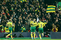 1st January 2020; Carrow Road, Norwich, Norfolk, England, English Premier League Football, Norwich versus Crystal Palace; Todd Cantwell of Norwich City celebrates with Kenny McLean after he scores for 1-0 in the 4th minute - Strictly Editorial Use Only. No use with unauthorized audio, video, data, fixture lists, club/league logos or 'live' services. Online in-match use limited to 120 images, no video emulation. No use in betting, games or single club/league/player publications