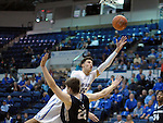 March 1, 2016 - Colorado Springs, Colorado, U.S. -   Air Force forward, Hayden Graham #35, reaches for a layup during an NCAA basketball game between the Utah State University Aggies and the Air Force Academy Falcons at Clune Arena, United States Air Force Academy, Colorado Springs, Colorado.  Utah State defeats Air Force 78-65.