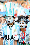 24 June 2006: Argentina fans. Argentina (1st place in Group C) defeated Mexico (2nd place in Group D) 2-1 after extra time at the Zentralstadion in Leipzig, Germany in match 50, a Round of 16 game, in the 2006 FIFA World Cup.