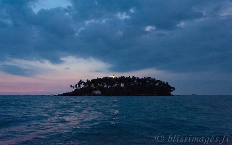 Barberyn (Beruwala) Lighthouse casts its light in the dying sunset near Bentota, Sri Lanka