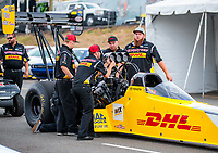 Jul 20, 2018; Morrison, CO, USA; Crew members for NHRA top fuel driver Richie Crampton during qualifying for the Mile High Nationals at Bandimere Speedway. Mandatory Credit: Mark J. Rebilas-USA TODAY Sports