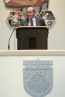Master of Ceremonies Seamus Malin speaks during the 2004 Induction Ceremony on Monday October 11, 2004 at the National Soccer Hall of Fame and Museum, Oneonta, NY..