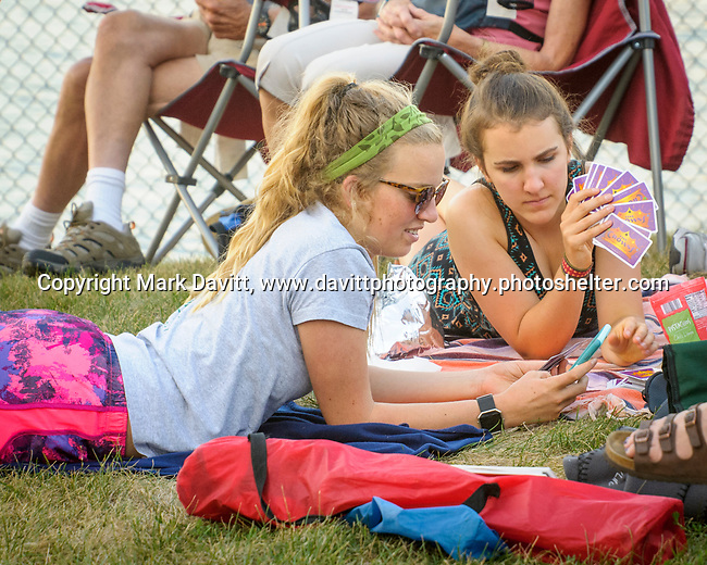 Copper Creek Lake Park was the place to be in Plesant Hill for Jazz in July July 28. The Max Wellman 7 band was hosted by Metro Arts Alliance to an over-flow crowd. Katie Noble of Grand Island, Nebraska and Grace Mumm Des Moines played card and listened to the music.