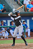 Cristopher Navarro (7) of the Grand Junction Rockies at bat against the Ogden Raptors at Lindquist Field on July 23, 2019 in Ogden, Utah. The Raptors defeated the Rockies 11-4. (Stephen Smith/Four Seam Images)