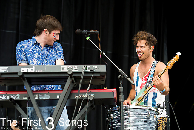 Nicholas Petricca and Kevin Ray of Walk the Moon perform during the 2013 Budweiser Made in America Festival in Philadelphia, Pennsylvania.