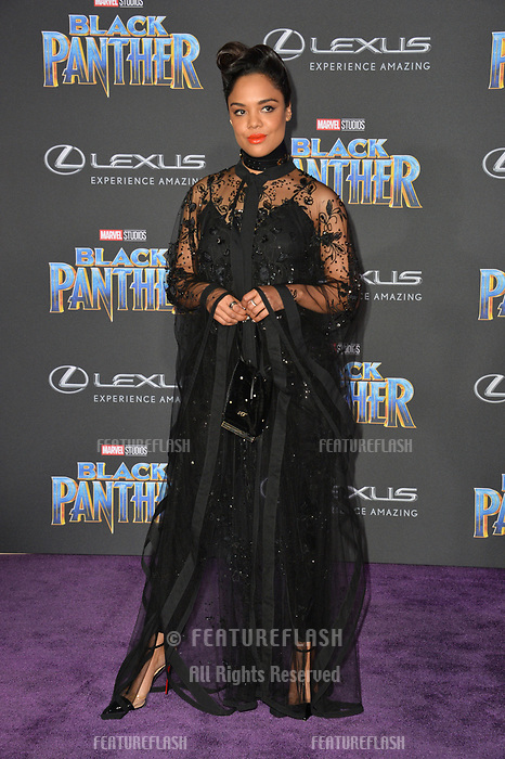 "Tessa Thompson at the world premiere for ""Black Panther"" at the Dolby Theatre, Hollywood, USA 29 Jan. 2018<br /> Picture: Paul Smith/Featureflash/SilverHub 0208 004 5359 sales@silverhubmedia.com"