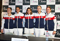 Arena Loire,  Tr&eacute;laz&eacute;,  France, 13 April, 2016, Semifinal FedCup, France-Netherlands, Press-conference French, team, ltr: Alize Cornet, Caroline Garcia, captain Amelie Mauresmo, Kristina Mladenovic and Pauline Parmentier.<br /> Photo: Henk Koster/Tennisimages