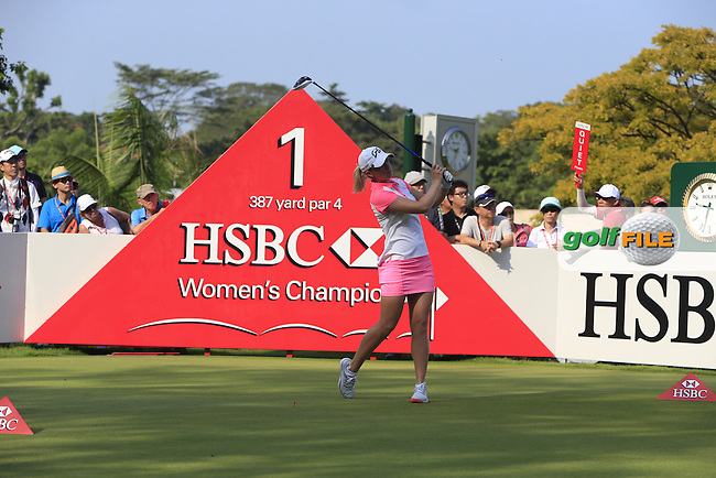 Jodi Ewart Shadoff (ENG) on the 1st tee during Round 3 of the HSBC Women's Champions at the Sentosa Golf Club, The Serapong Course in Singapore on Saturday 7th March 2015.<br /> Picture:  Thos Caffrey / www.golffile.ie