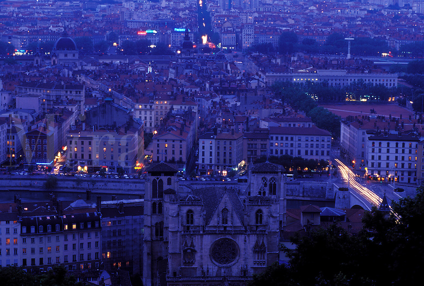 Lyon, France, Rhone-Alpes, Europe, Aerial view of downtown Lyon from Fourviere Hill in the evening.