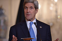 Washington, DC - March 11, 2015: U.S. Secretary of State John Kerry delivers a statement to members of the media in the Ben Franklin Room at the Department of State, March 11, 2015, before a working dinner with German Foreign Minister Frank-Walter Steinmeier.  (Photo by Don Baxter/Media Images International)