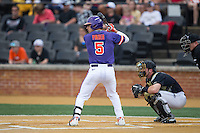 Chase Pinder (5) of the Clemson Tigers at bat against the Wake Forest Demon Deacons at David F. Couch Ballpark on March 12, 2016 in Winston-Salem, North Carolina.  The Tigers defeated the Demon Deacons 6-5.  (Brian Westerholt/Four Seam Images)