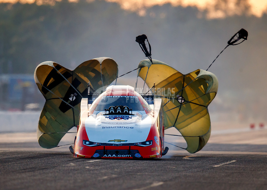 Aug 18, 2017; Brainerd, MN, USA; NHRA funny car driver Robert Hight sets a new national record with a 3.793 seconds elapsed time during qualifying for the Lucas Oil Nationals at Brainerd International Raceway. Mandatory Credit: Mark J. Rebilas-USA TODAY Sports