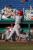 Auburn Doubledays left fielder Gage Canning (14) follows through on a swing during a game against the Batavia Muckdogs on June 28, 2018 at Dwyer Stadium in Batavia, New York.  Auburn defeated Batavia 14-9.  (Mike Janes/Four Seam Images)