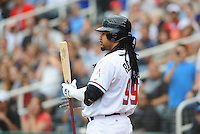Jun. 23, 2009; Albuquerque, NM, USA; Albuquerque Isotopes outfielder Manny Ramirez in the first inning against the Nashville Sounds at Isotopes Stadium. Ramirez is playing in the minor leagues while suspended for violating major league baseballs drug policy. Mandatory Credit: Mark J. Rebilas-