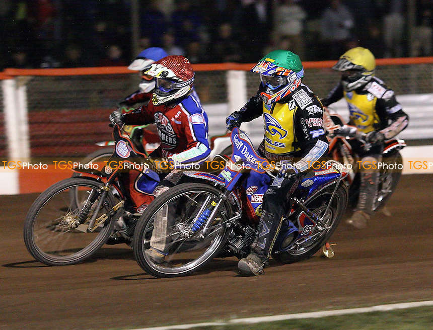 Heat 11 - Chris Harris (green) ahead of Adam Shields (red), Ricky Kling (blue) and Morten Risager  - Lakeside Hammers vs Eastbourne Eagles - Elite League Knockout Cup Quarter Final 1st Leg at Arena Essex -  14/09/07  - MANDATORY CREDIT: Gavin Ellis/TGSPHOTO - SELF-BILLING APPLIES WHERE APPROPRIATE. NO UNPAID USE. TEL: 0845 094 6026..