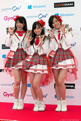 (L to R) Miho Akiyama, Kanna Hashimoto and Nagisa Shinomiya (Rev. from DVL), June 14, 2014 : MTV VMAJ (Video Music Awards Japan 2014 at Maihama Amphitheater in Chiba, Japan. (Photo by Rodrigo Reyes Marin/AFLO)