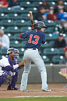 Brett Netzer (13) of the Salem Red Sox at bat against the Winston-Salem Dash at BB&T Ballpark on April 21, 2018 in Winston-Salem, North Carolina.  The Dash walked-off the Red Sox 4-3.  (Brian Westerholt/Four Seam Images)