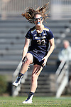 DURHAM, NC - FEBRUARY 26: Notre Dame's Samantha Lynch cramps up while celebrating a goal. The Duke University Blue Devils hosted the University of Notre Dame Fighting Irish on February, 26, 2017, at Koskinen Stadium in Durham, NC in a Division I College Women's Lacrosse match. Notre Dame won the game 12-11.