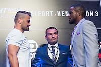 SÃO PAULO, SP, 05.11.2015 - UFC-SP -  Fabio Maldonado e Corey Anderson durante encarada no UFC Media Day, no hotel Hilton, na zona sul de São Paulo, na manhã desta quinta-feira, 05. (Foto: Adriana Spaca/Brazil Photo Press)