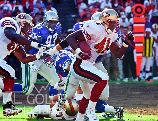 San Francisco 49ers vs. Seattle Seahawks at Candlestick Park Saturday, August 9, 1997.  49ers beat Seahawks 21-17 in a preseason game.  San Francisco 49ers running back Terry Kirby (41).