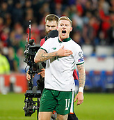 9th October 2017, Cardiff City Stadium, Cardiff, Wales; FIFA World Cup Qualification, Wales versus Republic of Ireland; Republic of Ireland goalscorer James McClean celebrates at full time