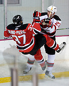 Veteran Grant Marshall offers a lesson to Jean-Luc Grand-Pierre during the second session on Saturday, September 15, 2007 of the New Jersey Devils training camp on Rink 2 of the Richard E. Codey Arena at South Mountain in West Orange, New Jersey...