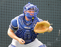 July 7, 2008: Catcher Jeff Howell (13) of the Wilmington Blue Rocks, Class A affiliate of the Kansas City Royals, in a game against the Myrtle Beach Pelicans at BB&T Coastal Field in Myrtle Beach, S.C. Photo by:  Tom Priddy/Four Seam Image