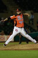 Marco Zavala segundo relevo de naranjeros durante el juego de beisbol de Naranjeros vs Cañeros durante la primera serie de la Liga Mexicana del Pacifico.<br /> 15 octubre 2013