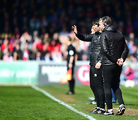 Lincoln City manager Danny Cowley, left, and Lincoln City's assistant manager Nicky Cowley on the technical area<br /> <br /> Photographer Andrew Vaughan/CameraSport<br /> <br /> The EFL Sky Bet League Two - Lincoln City v Cheltenham Town - Saturday 13th April 2019 - Sincil Bank - Lincoln<br /> <br /> World Copyright &copy; 2019 CameraSport. All rights reserved. 43 Linden Ave. Countesthorpe. Leicester. England. LE8 5PG - Tel: +44 (0) 116 277 4147 - admin@camerasport.com - www.camerasport.com
