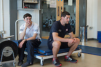 Caversham, Reading, . United Kingdom.   left Cox , Oliver JAMES and Coach, Nick BAKER watch the  Stretch session in the gym before their morning training session on the lake. GBRowing team, Media day for Paralympic  Team  to compete at the  2016 Rio Games.   Tuesday  19/07/2016,         [Mandatory Credit Peter Spurrier/Intersport Images]