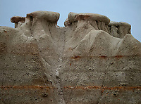 Betoniye clay formations rise into the sky at Theodore Roosevelt National Park, North Dakota