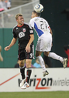 Danny Allsopp #9 of D.C. United heads away from Jason Hernandez #21 of the San Jose Earthquakes during an MLS match at RFK Stadium in Washington D.C. on October 9 2010. San Jose won 2-0.