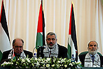Deposed Palestinian Authority Prime Minister Ismail Haniyeh, center, is seen during a public relations tour organized by the Islamic group Hamas for local and foreign journalists in Gaza City, Monday, July 30 2007. Photo By: JINIPIX/Fady Adwan
