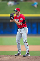 Carolina Mudcats starting pitcher Corbin Burnes (48) looks to his catcher for the sign against the Winston-Salem Dash at BB&T Ballpark on May 21, 2017 in Winston-Salem, North Carolina.  The Mudcats defeated the Dash 3-0 in 10 innings.  (Brian Westerholt/Four Seam Images)