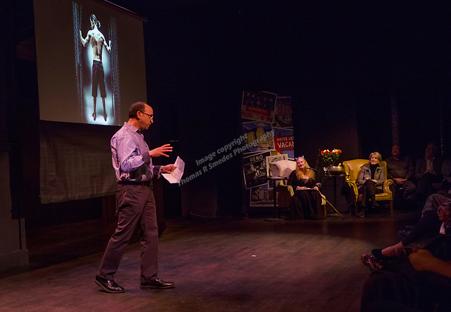 Photographer Jeff Ross talks during the Take 5 fundraiser at the Bruka Theatre on Saturday night, Jan. 13, 2018.