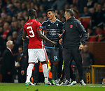 Facundo Roncaglia of Celta Vigo confronts Eric Bailly of Manchester United on the touchline as they are both sent off during the Europa League Semi Final 2nd Leg match at Old Trafford Stadium, Manchester. Picture date: May 11th 2017. Pic credit should read: Simon Bellis/Sportimage