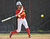 Kayla Fitzpatrick #17, Sacred Heart Academy first baseman, hits a single into left field during the bottom of the first inning of a CHSAA varsity softball game against Kellenberg at Greis Park in Lynbrook on Tuesday, April 11, 2017. She collected a single, double, RBI and scored twice. Sacred Heart won by run rule 9-0 after four and a half innings of play.
