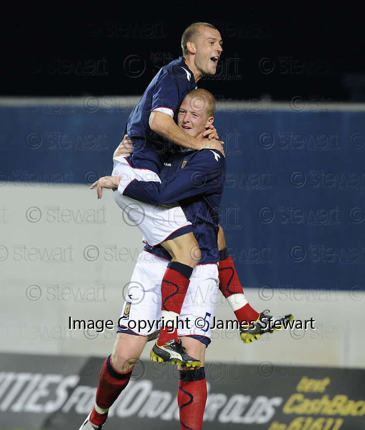 04/09/2008  Copyright Pic: James Stewart.File Name : sct_jspa06_scotland_v_slovenia.GARRY KENNETH IS CONGRATULATED BY STEVEN FLETCHER AFTER SCORING SCOTLAND'S SECOND.James Stewart Photo Agency 19 Carronlea Drive, Falkirk. FK2 8DN      Vat Reg No. 607 6932 25.James Stewart Photo Agency 19 Carronlea Drive, Falkirk. FK2 8DN      Vat Reg No. 607 6932 25.Studio      : +44 (0)1324 611191 .Mobile      : +44 (0)7721 416997.E-mail  :  jim@jspa.co.uk.If you require further information then contact Jim Stewart on any of the numbers above........