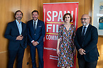 """James costos, the former US ambassador, Isabel Oliver, secretary of state for tourism, Oscar Puente, Mayor of Valladolid, Carlos Rosado, president of the Spain Film Commission,  in the presentation of the """"Shooting in Spain"""" project<br /> October 3, 2019. <br /> (ALTERPHOTOS/David Jar)"""