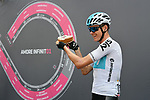 Chris Froome (GBR) Team Sky at sign on before the start of Stage 15 of the 2018 Giro d'Italia, running 156km from Tolmezzo to Sappada, Italy. 20th May 2018.<br /> Picture: LaPresse/Gian Mattia D'Alberto | Cyclefile<br /> <br /> <br /> All photos usage must carry mandatory copyright credit (&copy; Cyclefile | LaPresse/Gian Mattia D'Alberto)