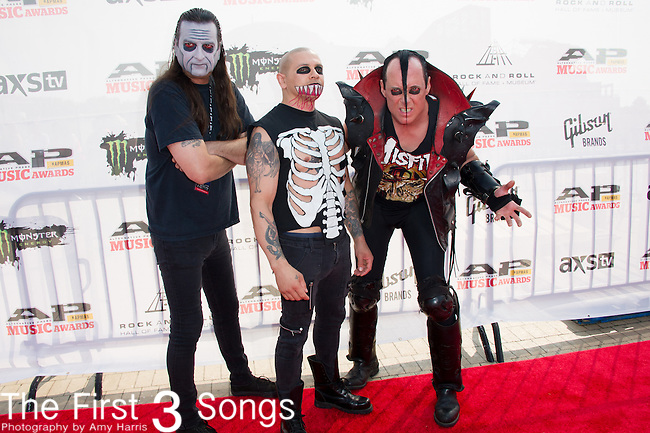 "Jerry Only, Dez Cadena, and Eric ""Chupacabra"" Arce of The Misfits attend the 2014 AP Music Awards at the Rock And Roll Hall Of Fame and Museum at North Coast Harbor in Cleveland, Ohio."