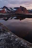 Midnight twilight reflection at Tungeneset, Senja, Norway