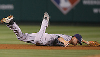06/08/11 Anaheim, CA: Tampa Bay Rays shortstop Reid Brignac #15 during an MLB game between the Tampa Bay Rays and The Los Angeles Angels  played at Angel Stadium. The Rays defeated the Angels 4-3 in 10 innings